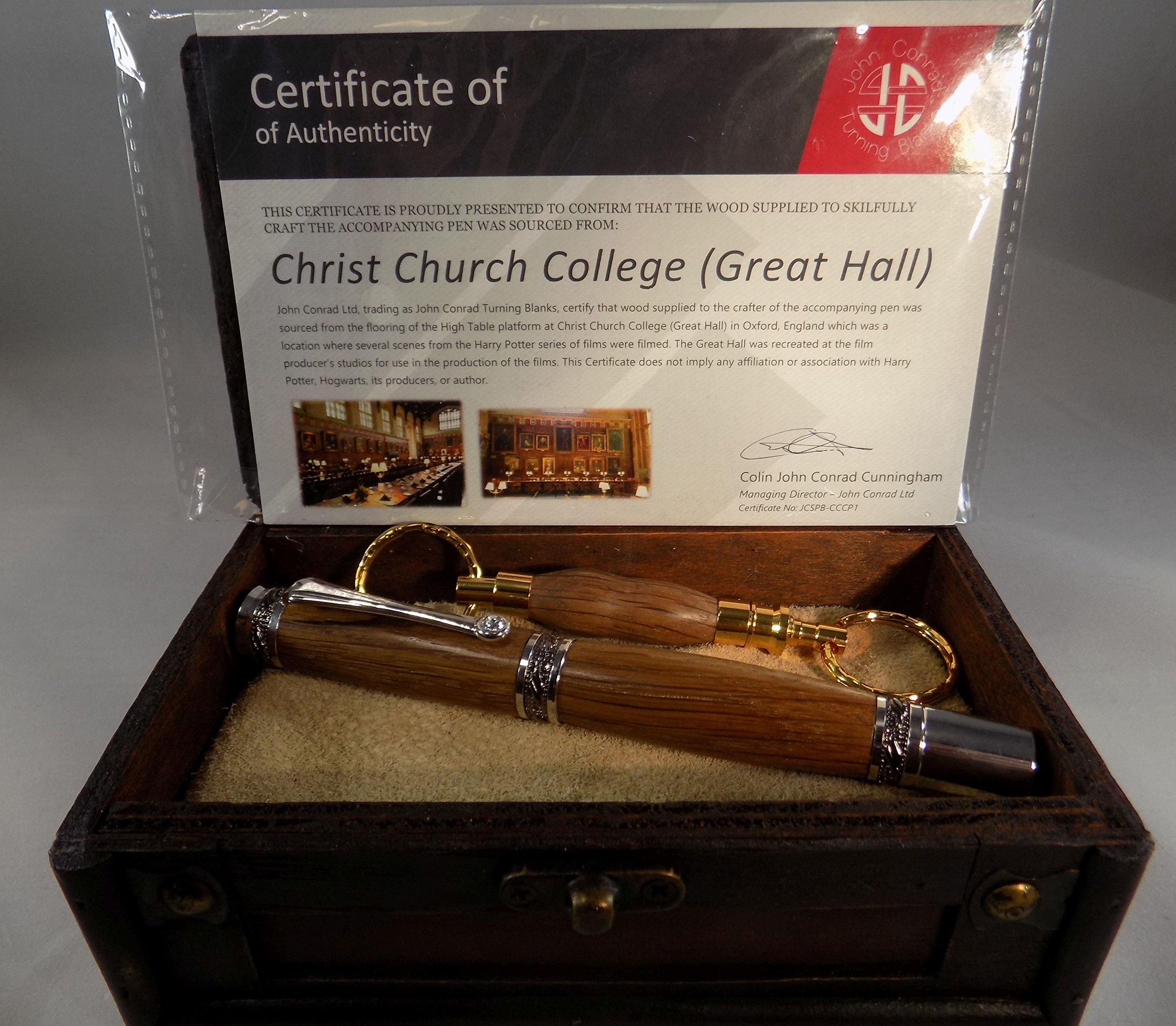 Handmade Majestic Rollerball Pen - Christ Church College (Hogwarts Great Hall) Wood Floor - Keychain - Certificate of Authenticity - Black Titanium and Rhodium Hardware - Gift Box