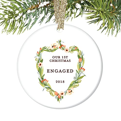 engagement gifts our 1st christmas engaged ornament floral crest christmas ornament 2018 elegant