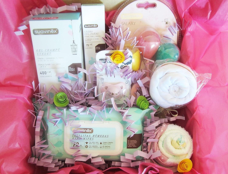 Canastilla para Bebés con Productos SUAVINEX, Body, Pañales y Baberos de marca | Disponible en 4 tamaños (S, M, L y para Gemel@s) | Para Niñas, Niños ...