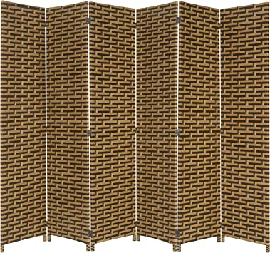 Amazon Com Mygift 6 Foot Beige And Black Freestanding Wicker Privacy Room Divider With Dual Action Hinges 6 Panel Furniture Decor