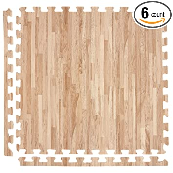 IncStores Soft Wood Foam Tiles (6 Tiles, Textured Maple) 2ft X 2ft  Interlocking