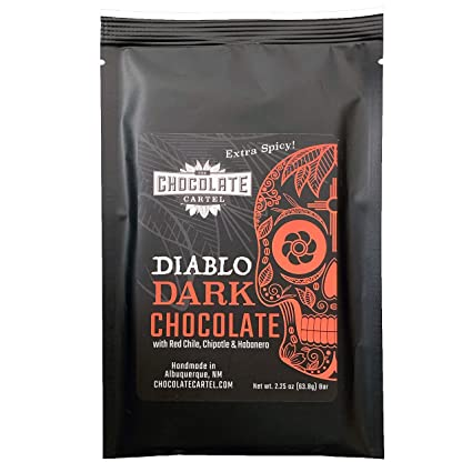 Chocolate Cartel, Diablo Dark Chocolate Bar (Extra Spicy) 2.25 Ounce Made in Small Batches, Gluten Free, Dairy Free