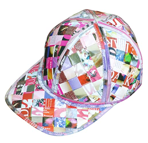 Cap hat made of magazine paper - FREE SHIPPING - recycled handmade hats  Fair trade ethical fun present presents inspiring alternative ideas  functional ... 2c25f66a106