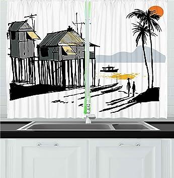 Amazon Com Ambesonne Coastal Kitchen Curtains Sketchy