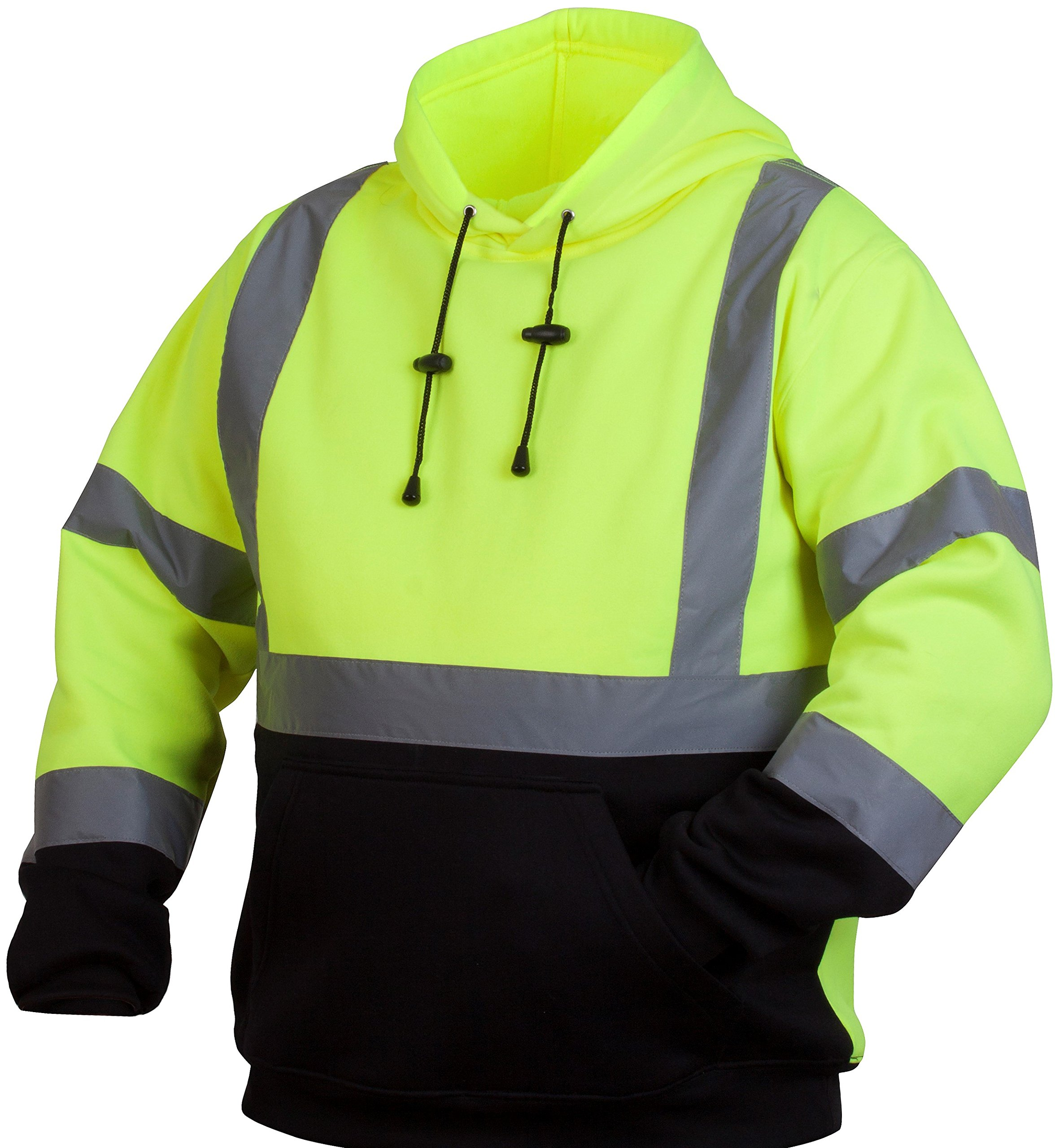 Pyramex RSSH3210L Hi-Vis Lime Safety Pullover Sweatshirt with Black Bottom, Large, Green