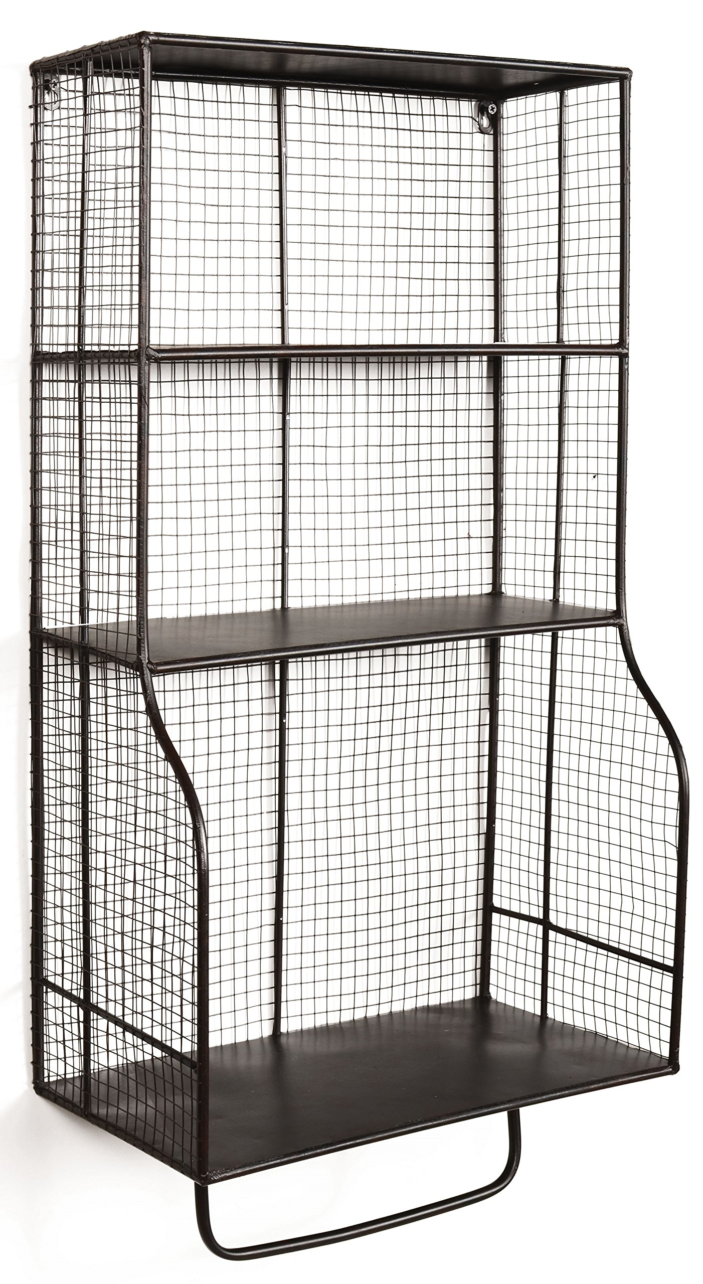 Linon AMMESHELFW1 Distressed Wall Storage Organizer, Brown - Rustic, distressed black metal Grid metal design Three shelves for ample storage - living-room-furniture, living-room, bookcases-bookshelves - 9182LdExAcL -