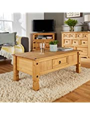 Home Source Coffee Table Pine 1 Drawer Corona Mexican Pine Occasional Table