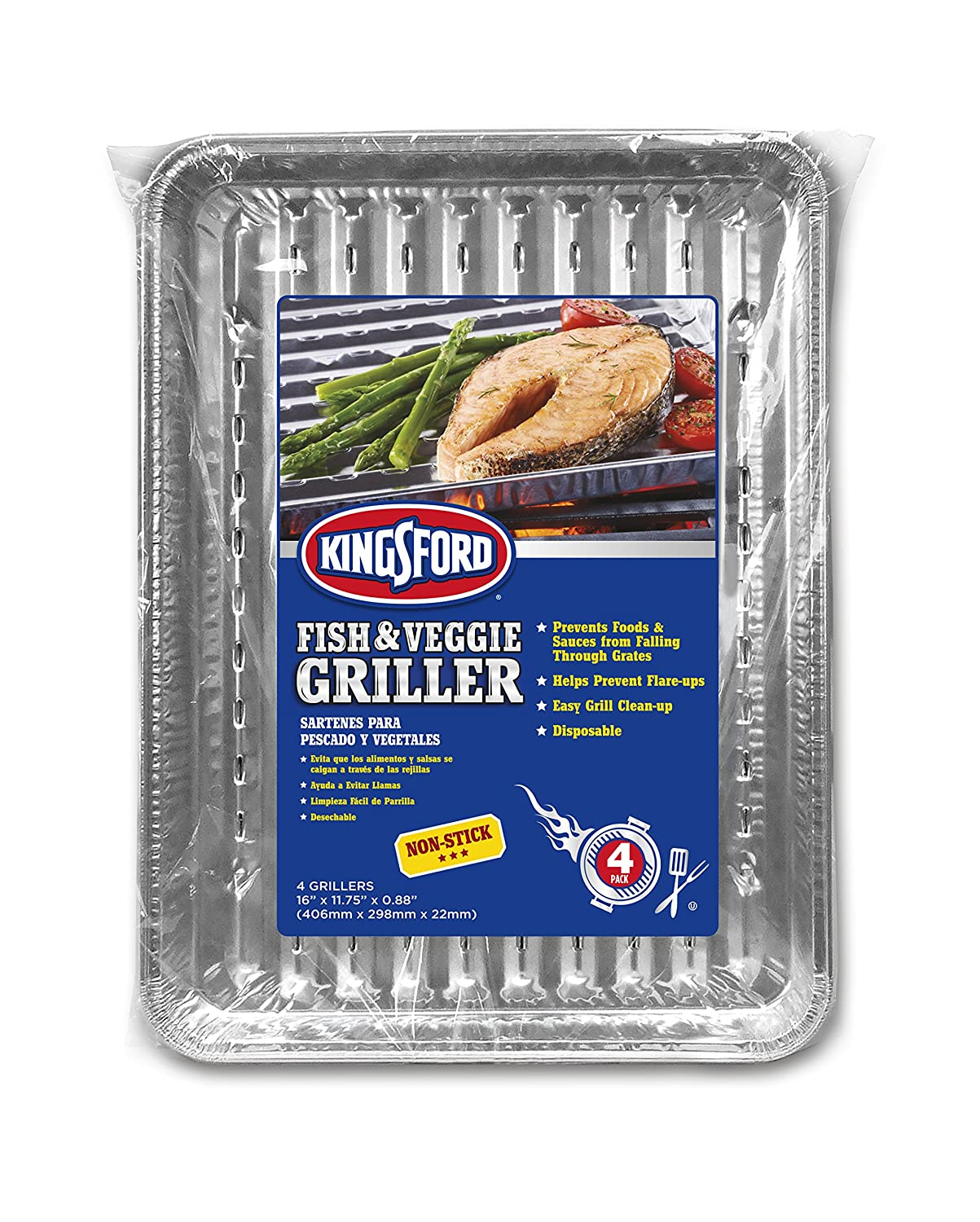 Amazon.com : Kingsford 4 Count Extra Tough All-Purpose Aluminum, 4 Pack Pans, 4Count Silver : Industrial & Scientific