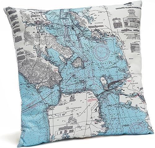 San Francisco Bay Indoor Outdoor Nautical Chart Throw Pillow