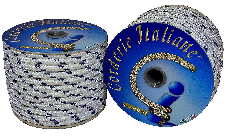 Corderie Italiane 6000754 TRECCIA Nautica 12MM-010MT Blanco con azul Marcador