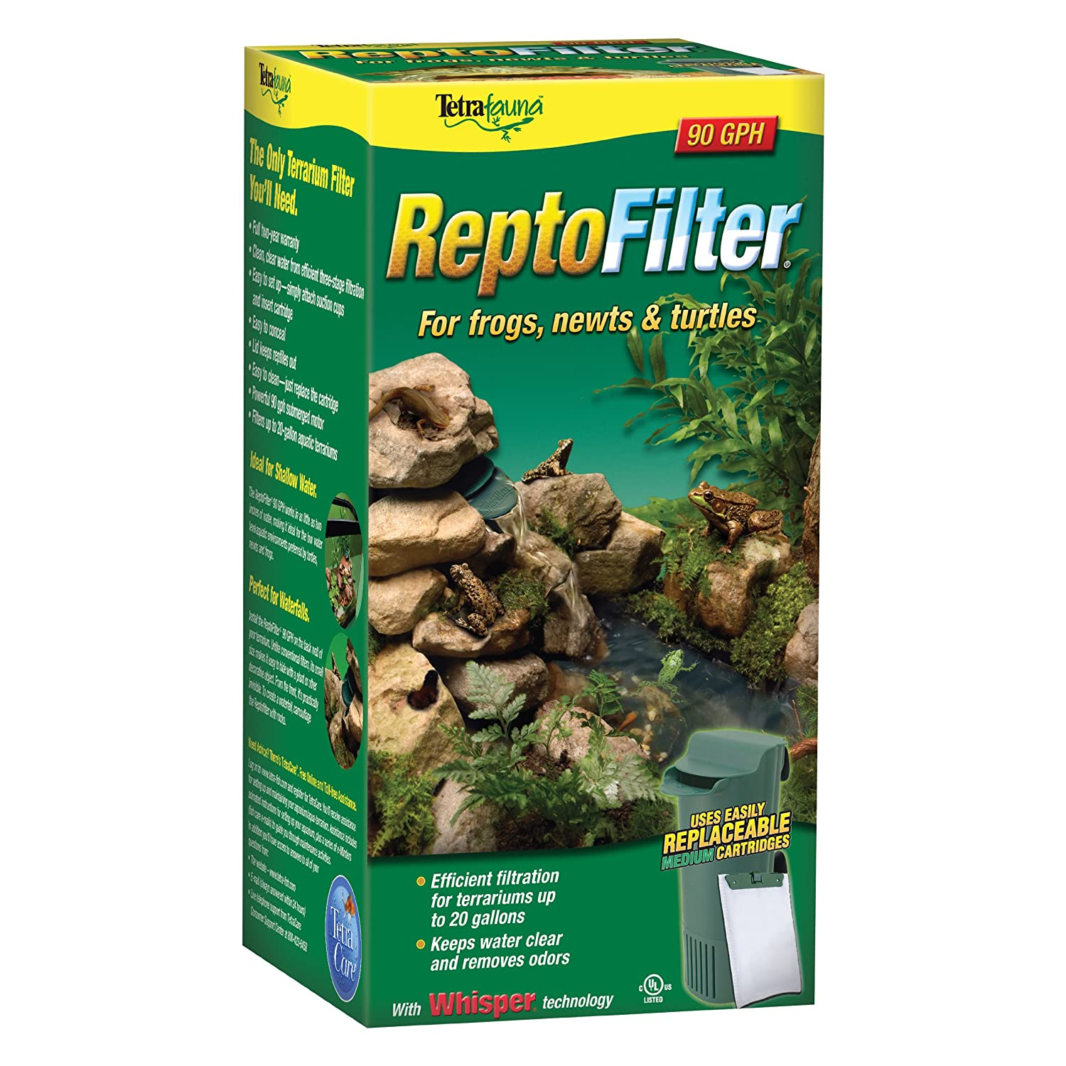 Tetra 26038 ReptoFilter for Terrariums up to 50 Gallons, 125 GPH