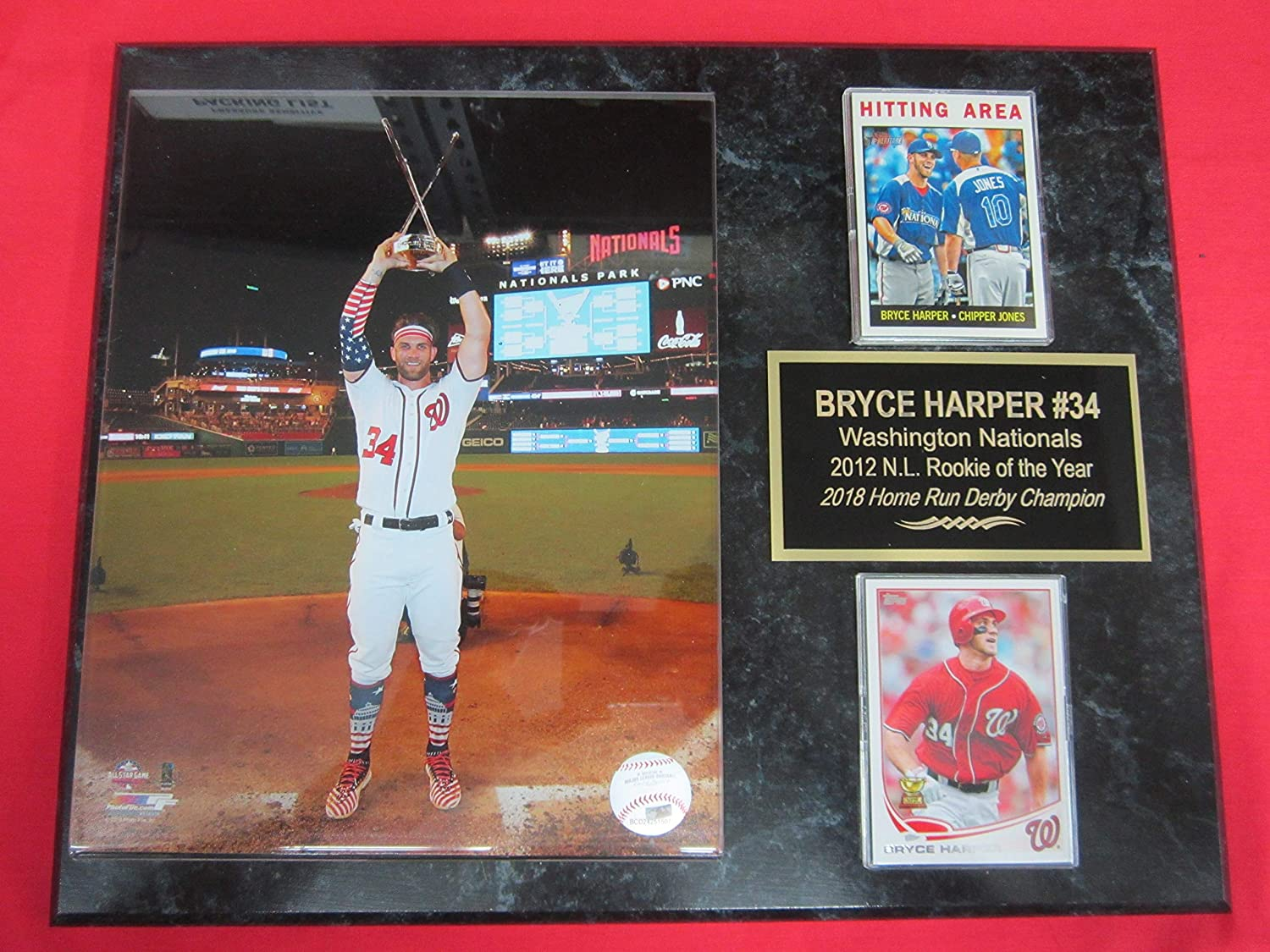 Nationals Bryce Harper 2 Card Collector Plaque w/8x10 2018 Home Run Derby Photo