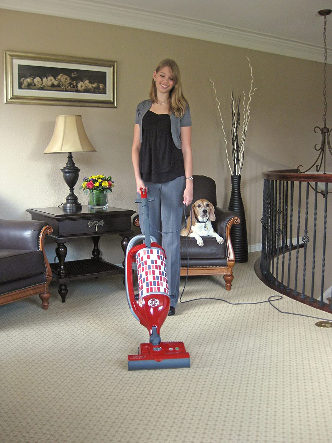 Sebo Vacuums 9809AM Felix Premium Rosso Upright Vacuum with Parquet, Red Gray – Corded