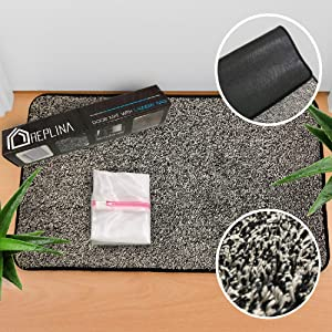 "Replina Indoor Doormat (29"" X 17"") Gray with Laundry Bag - Low Profile Door Mat Entryway Throw Rugs, Waterproof, Non Slip Rubber Mats for Patio, Entrance Front Floor, Kitchen and Outdoor Welcome Mat"