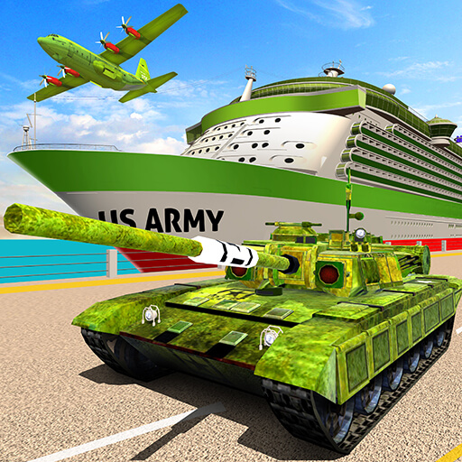 US Army Transport Game - Cargo Plane & Army Tanks
