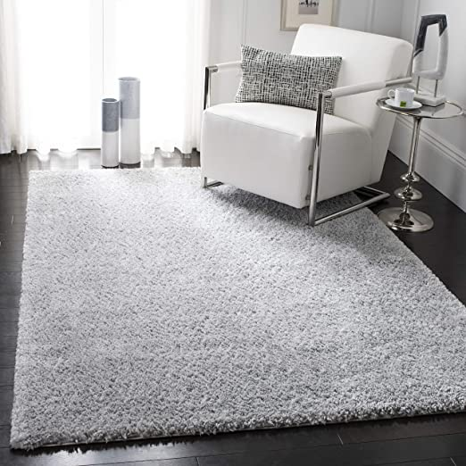 Amazon Com Safavieh August Shag Collection Aug900g 1 18 Inch Thick Area Rug 9 X 12 Silver Furniture Decor