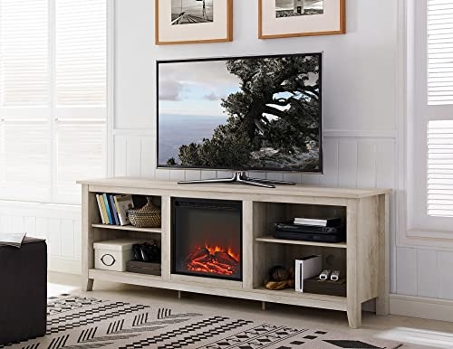 New 70 Inch Wide Television Stand with Fireplace in White Oak Finish