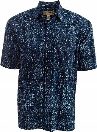 Johari West Camisa de algodón Hawaiano Tropical, diseño de Bahama Sky - Azul - Small: Amazon.es: Ropa y accesorios