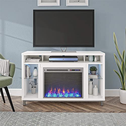 Ameriwood Home Lumina 48 , White Fireplace TV Stand