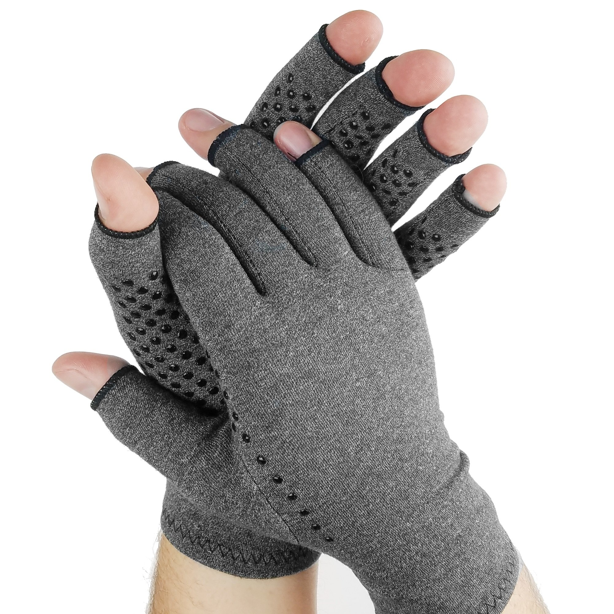 Compression Hand Gloves| Arthritis Gloves With Grips Open Fingers for Men and Women