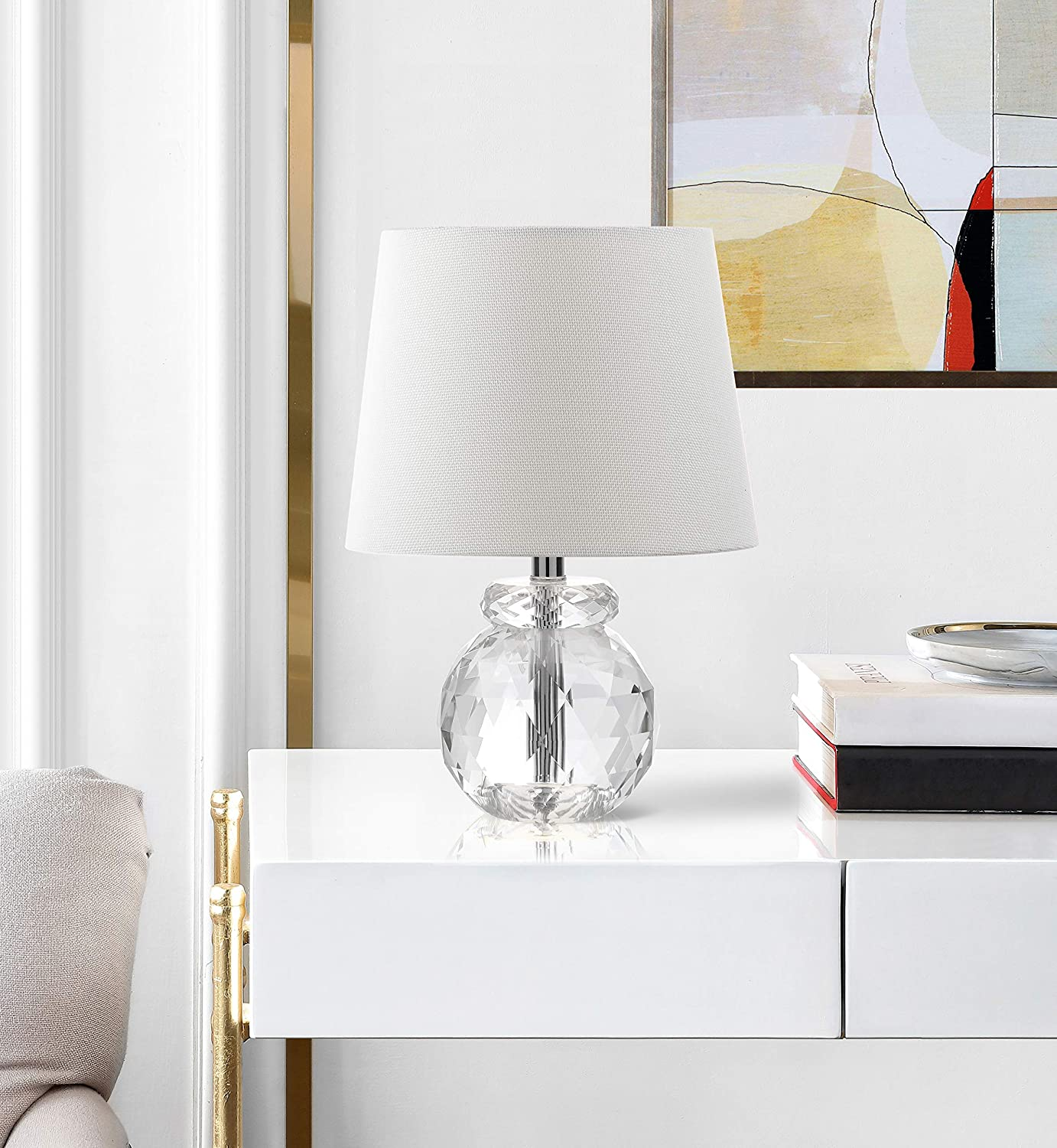 Amazon Com Safavieh Lighting Collection Eunice Designer Clear 13 Inch Table Lamp Home Kitchen