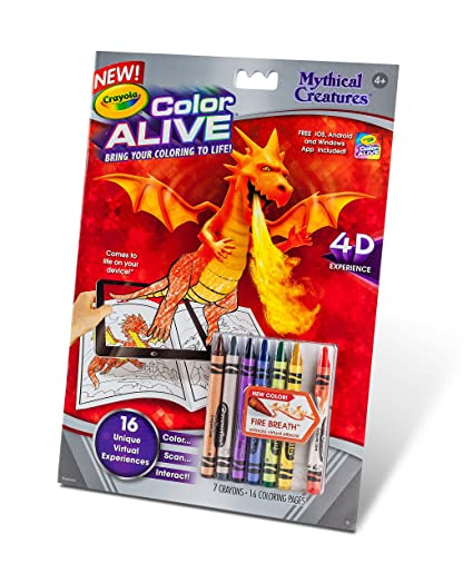 Amazoncom Crayola Color Alive Action Coloring PagesMythical