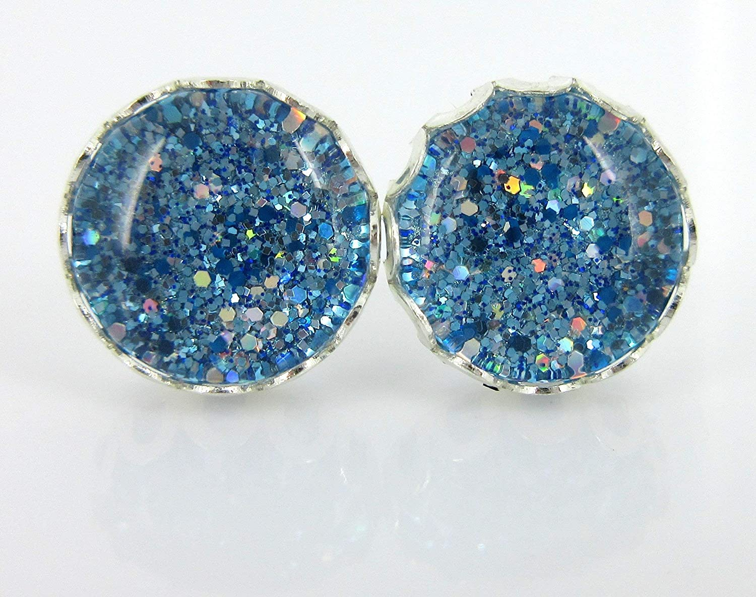Silver-tone Blue and White Glitter Glass Stud Earrings Hand-painted 10mm