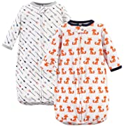 Hudson Baby Safe Sleep Wearable Long Sleeve Sleeping Bag, 2 Pack, Foxes