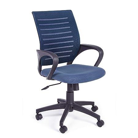 Sedie Acciaio E Plastica.Sedia Ufficio Blu Girevole Con Rotelle Struttura In Acciaio E