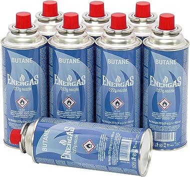 8 cartuchos de gas butano de 227 g con válvula para parrilla, soplete, hornillo de camping, calefacción de gas, hornillo de gas, hornillo de soldador, ...