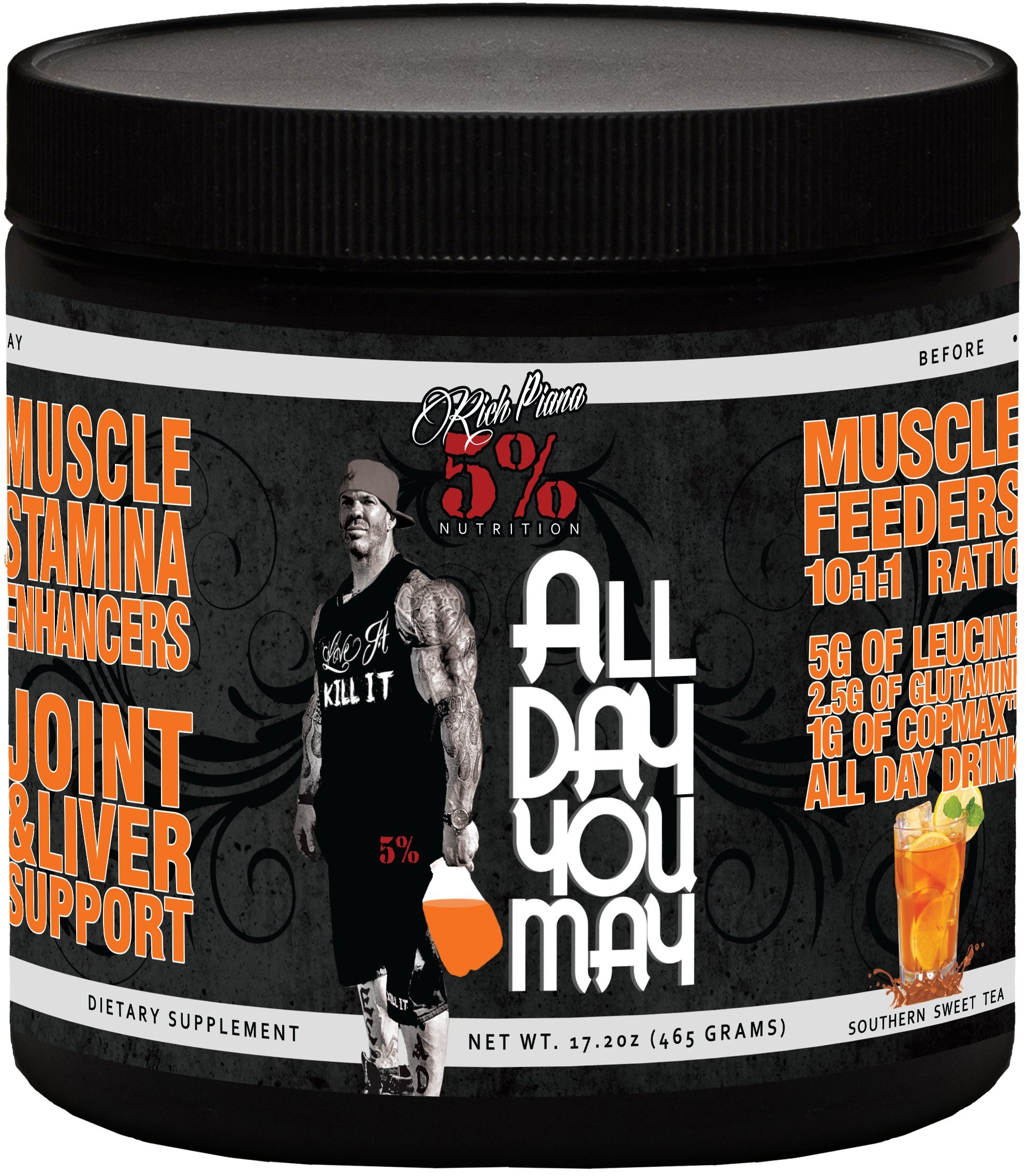 Rich Piana 5% Nutrition All Day You May BCAA & Joint Recovery Drink (Southern Sweet Tea) 17.2oz (465 Grams) 30 Servings