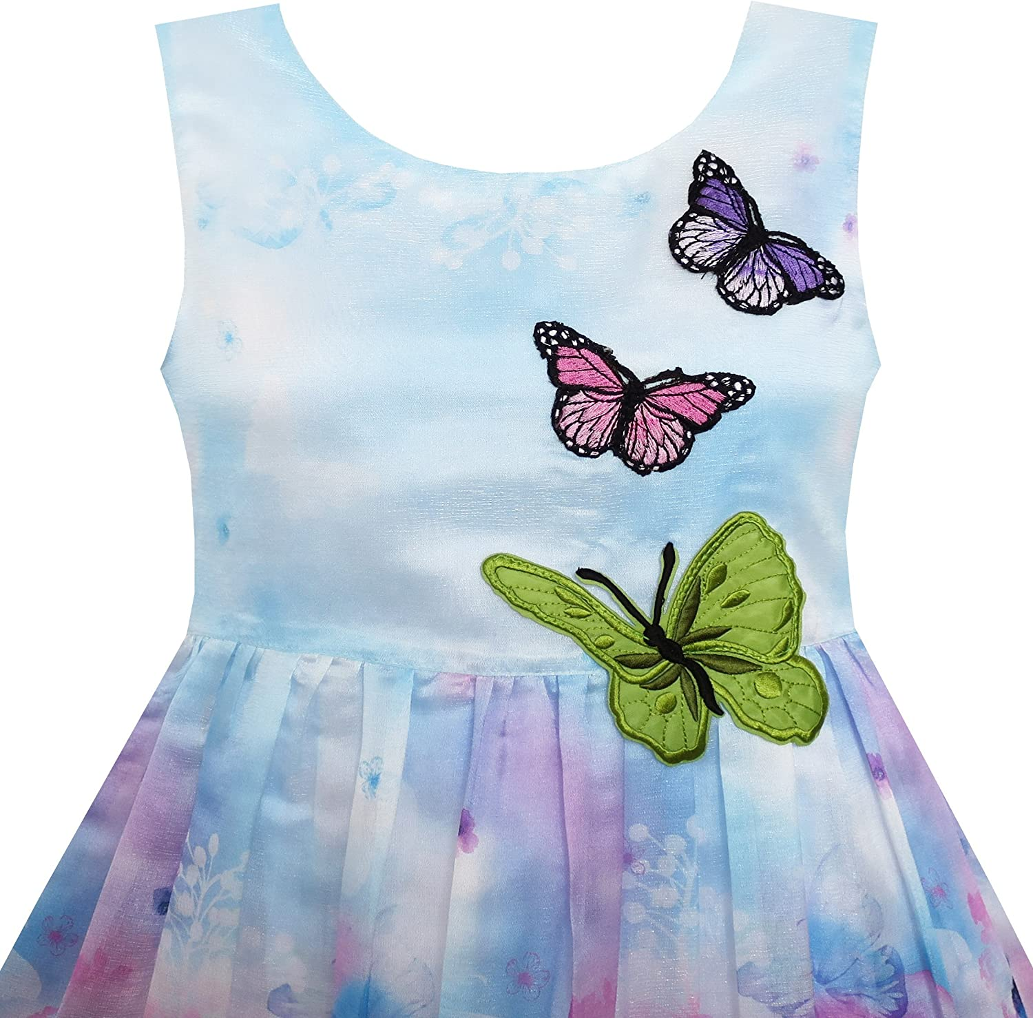 Sunny Fashion Girls Dress Rose Flower Print Butterfly Embroidery Purple
