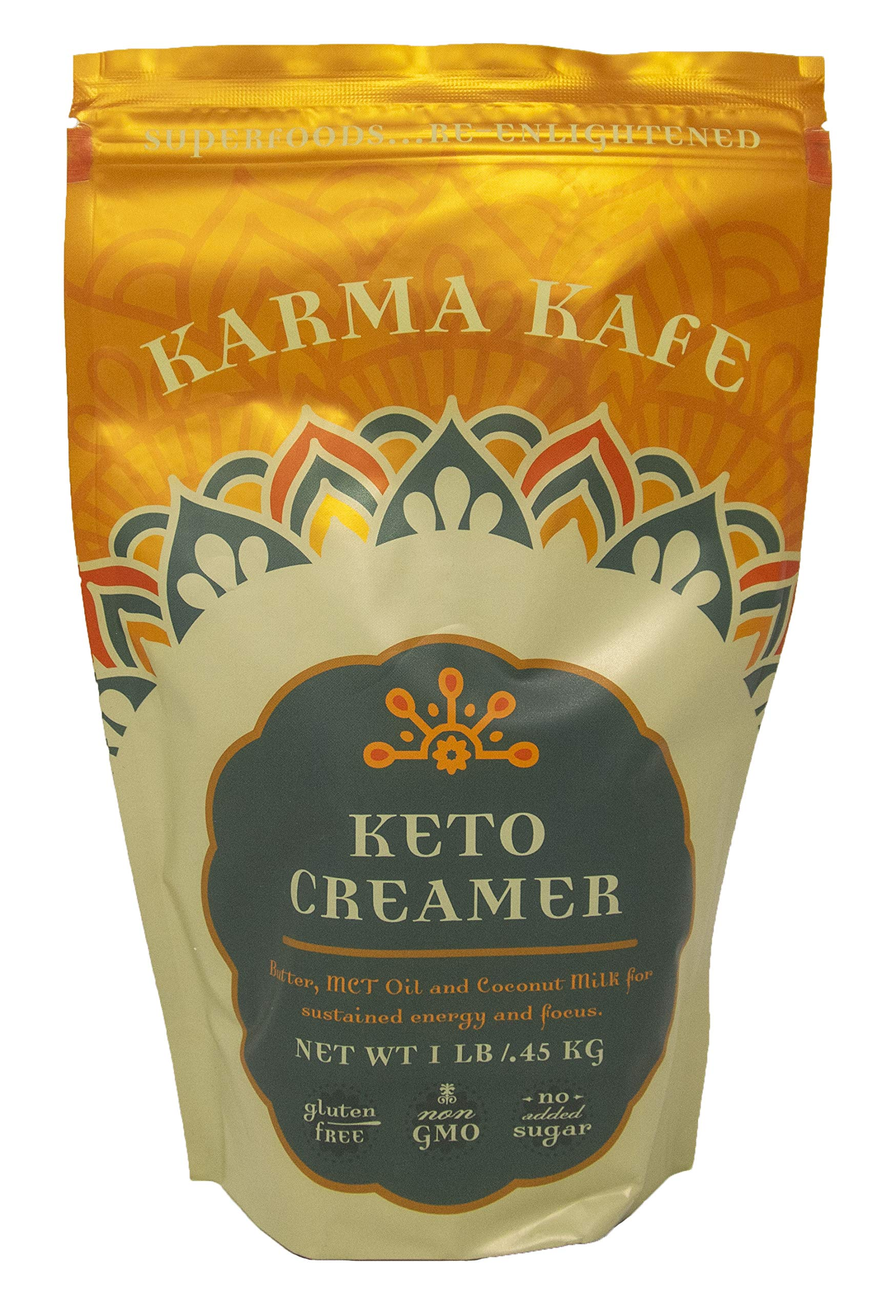 Karma Kafe Keto Creamer with MCT oil, Coconut Milk, Butter, High Fat BPC Coffee Creamer Superfood - 1 Pound Resealable Package by Karma Kafe (Image #1)