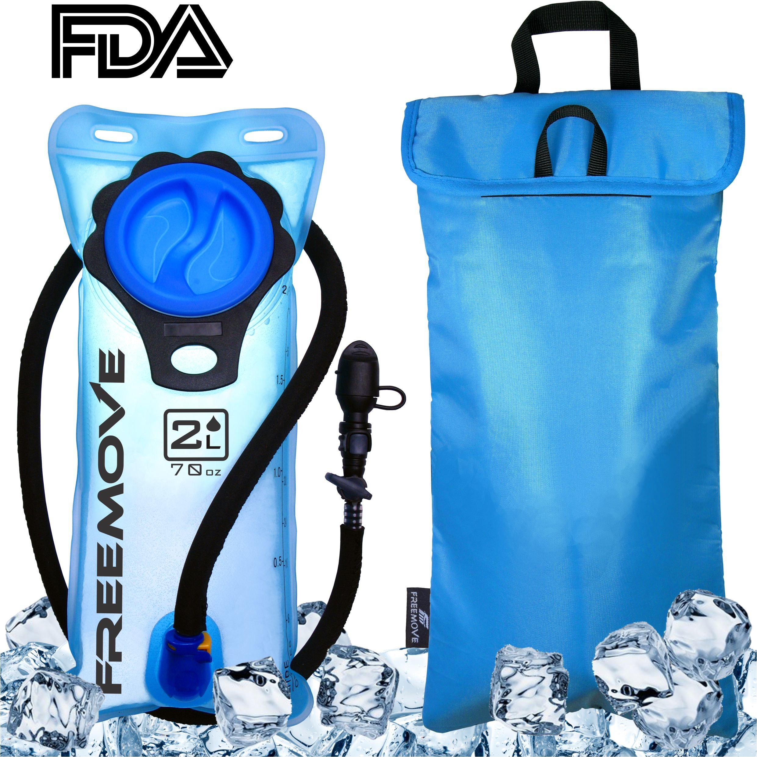 2L Hydration Pack Water Bladder & Cooler Bag | KEEPS DRINK COOL & PROTECTS YOUR BLADDER | Durable Leak Proof Water Reservoir | Large Oppening | Tasteless BPA Free | Quick Release Tube & Shutoff Valve