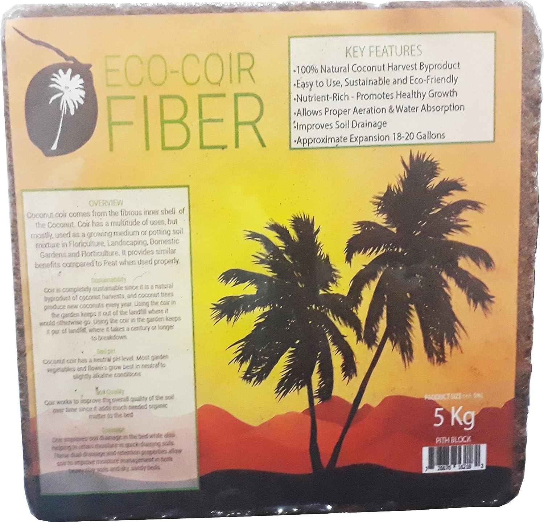 ECO-COIR Compressed Coco Fiber Peat 11-Pound Block, Medium