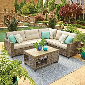 Memberu0027s Mark Agio Collection Park Place With A Durable Porcelain Tile  Tabletop Sunbrella Seating Set,