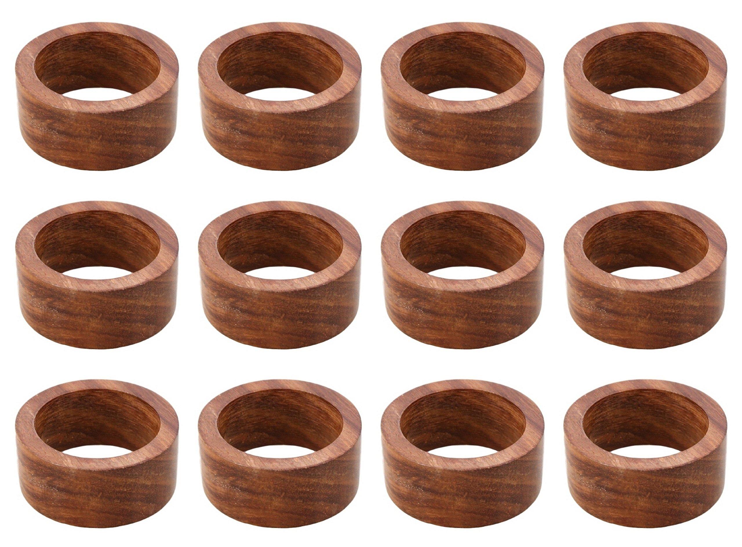 ARN Craft Handmade Wood Napkin Ring Set With 12 Napkin Rings (CW- 05-12)
