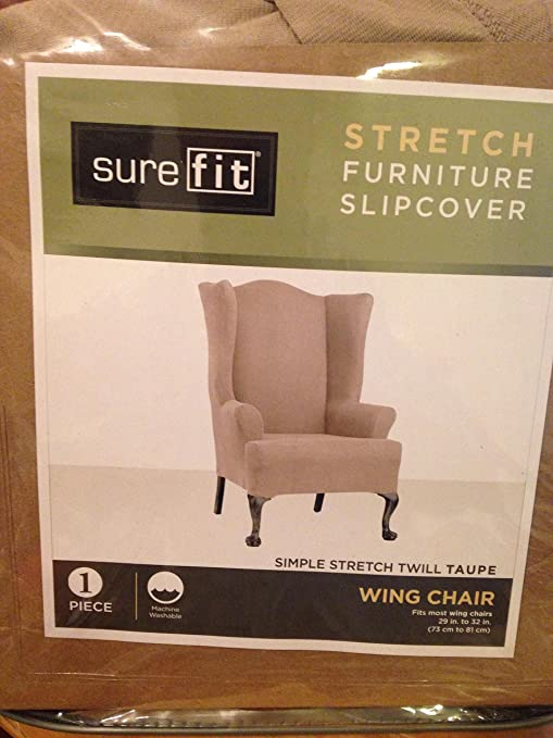 Sure Fit Stretch Wing Chair Slipcover U2013 Taupe