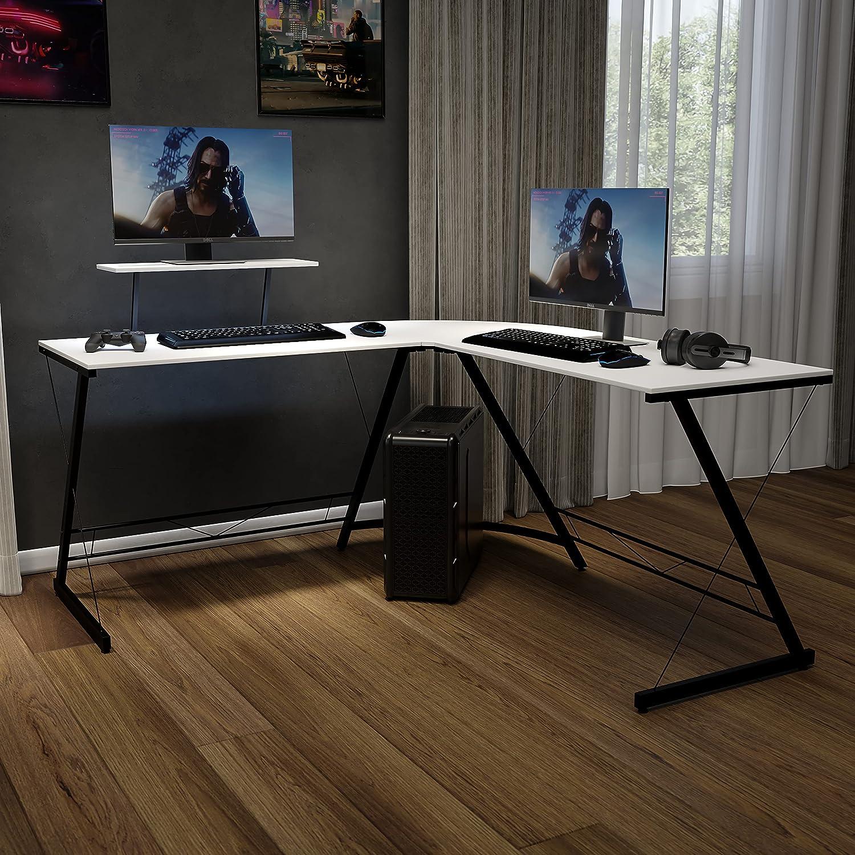Flash Furniture Corner Desk - White/Black Space Saving L-Shaped Gaming Desk with Monitor Shelf - 71.5