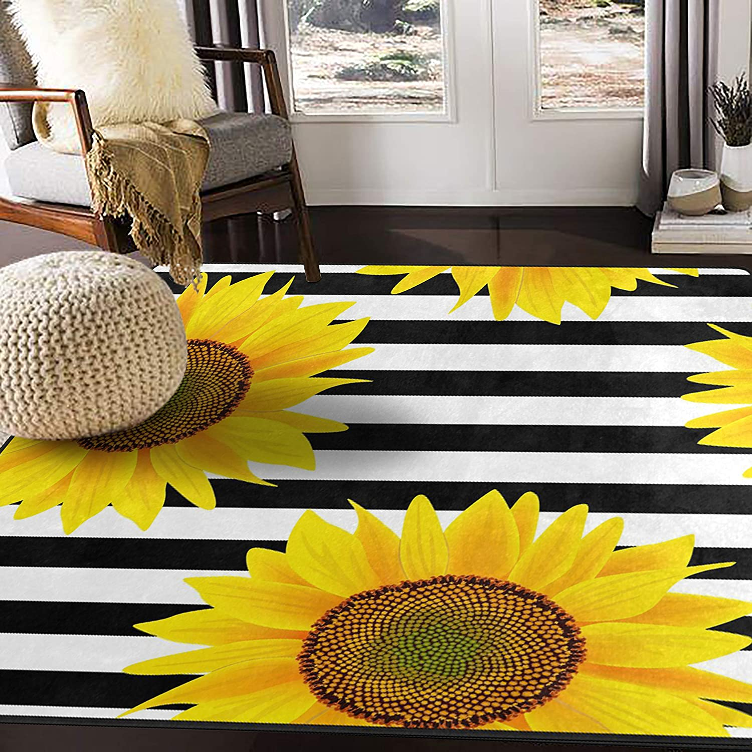 Amazon Com Alaza Black White Striped Sunflower Area Rug Rugs For Living Room Bedroom 5 3 X4 Kitchen Dining