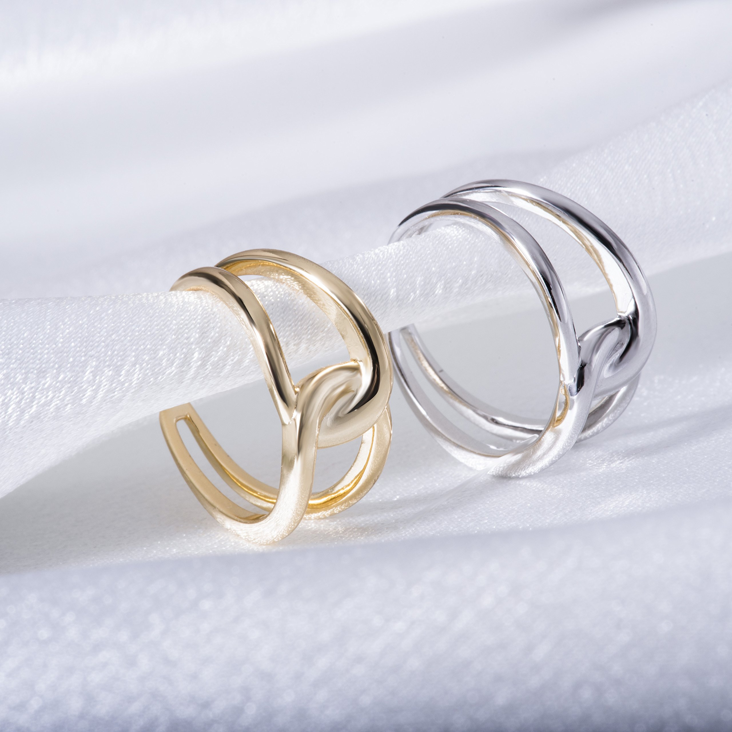 Fonsalette Gold Plated Infinity Ring Sterling Silver Open Twist Ring Two Band Ring (silver) by Fonsalette (Image #6)