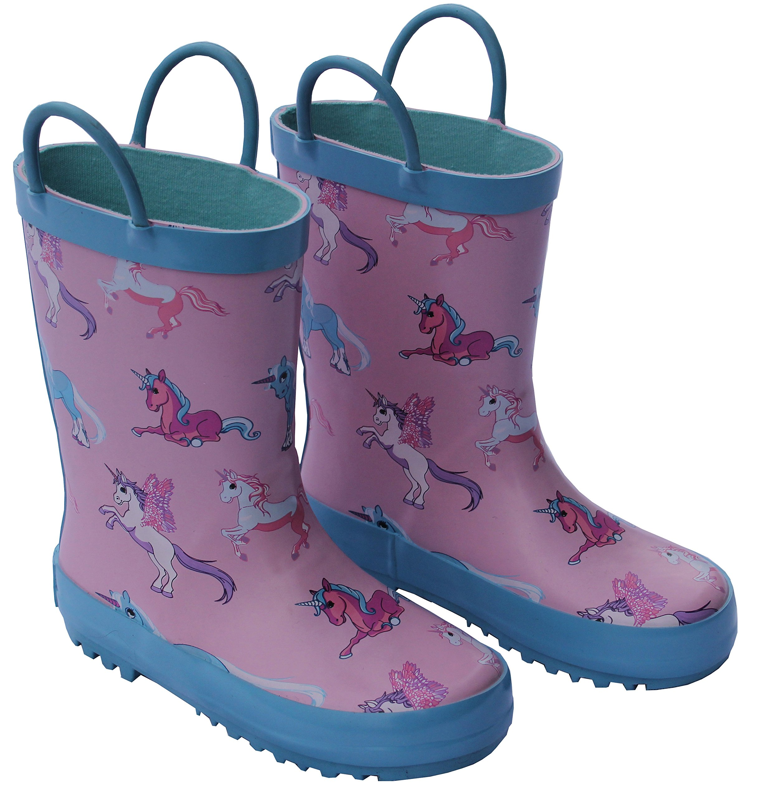 Foxfire for Kids Pink and Blue Rubber Boots with Unicorn Pattern Size 1 by Foxfire for Kids (Image #1)