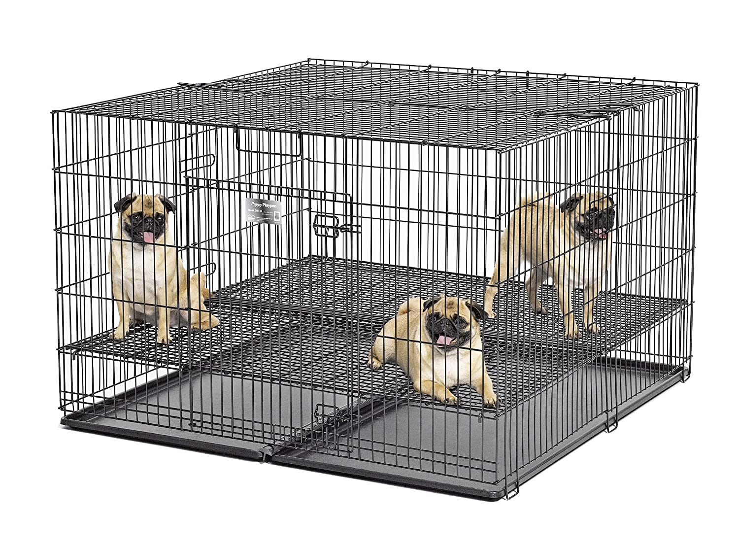 Large Midwest Puppy Playpen with 1 Inch Mesh Floor Grid, 48  L (Large Model 248-10)