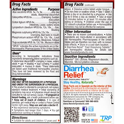 Amazon.com: TRP Diarrhea Relief - Natural - Homeopathic- 50 Tablets (Pack of 2): Health & Personal Care