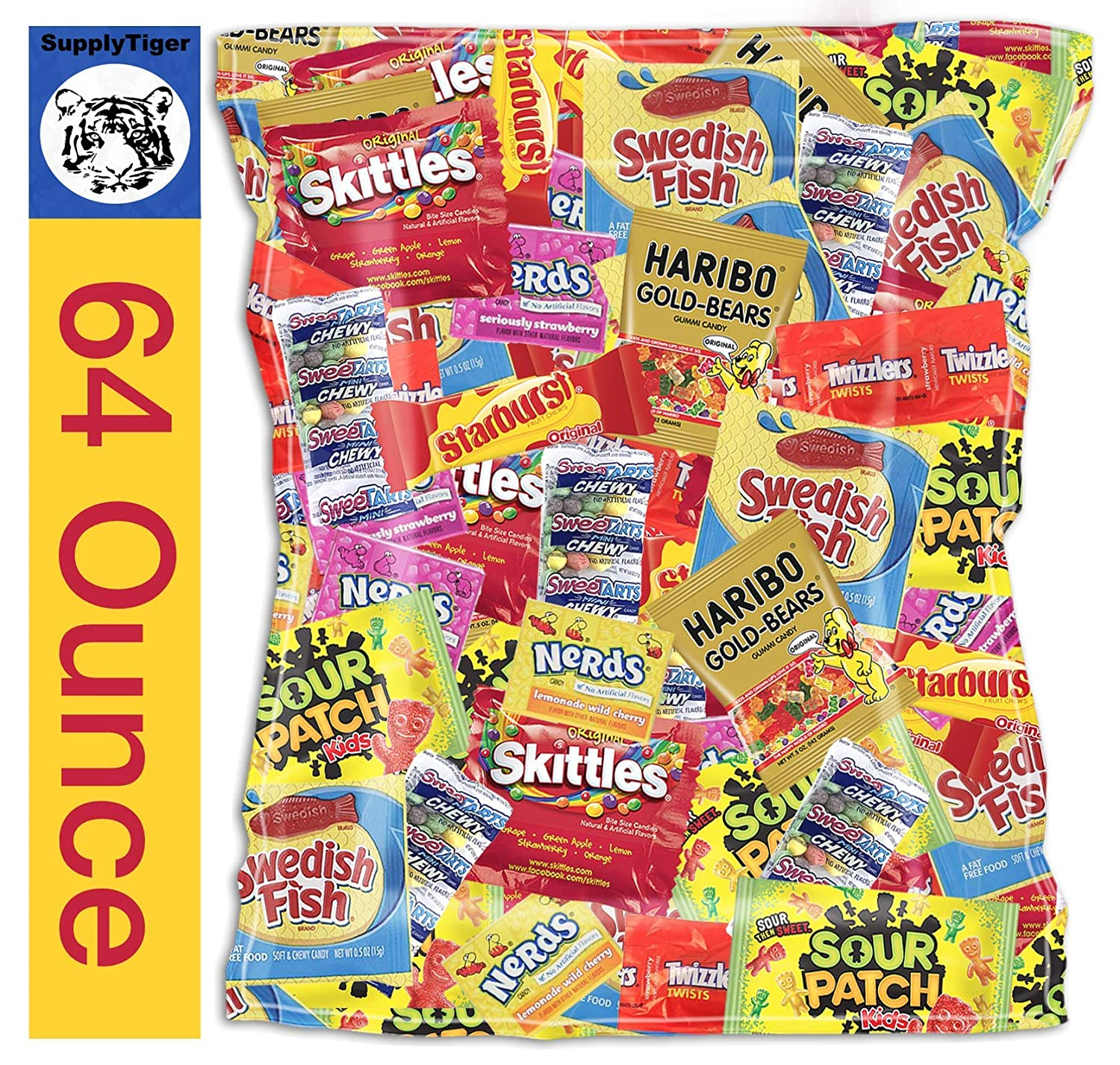 Kids Assorted Candy 64oz Pack Sour Patch Skittles Twizzlers Starburst Swedish Fish Haribo Bears Party Bags, Gifts, and Office Snacks