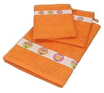 Betz Juego de 3 piezas de toallas para bebés 1 toalla y 2 manoplas de baño LECHUZAS de color naranja: Amazon.es: Hogar