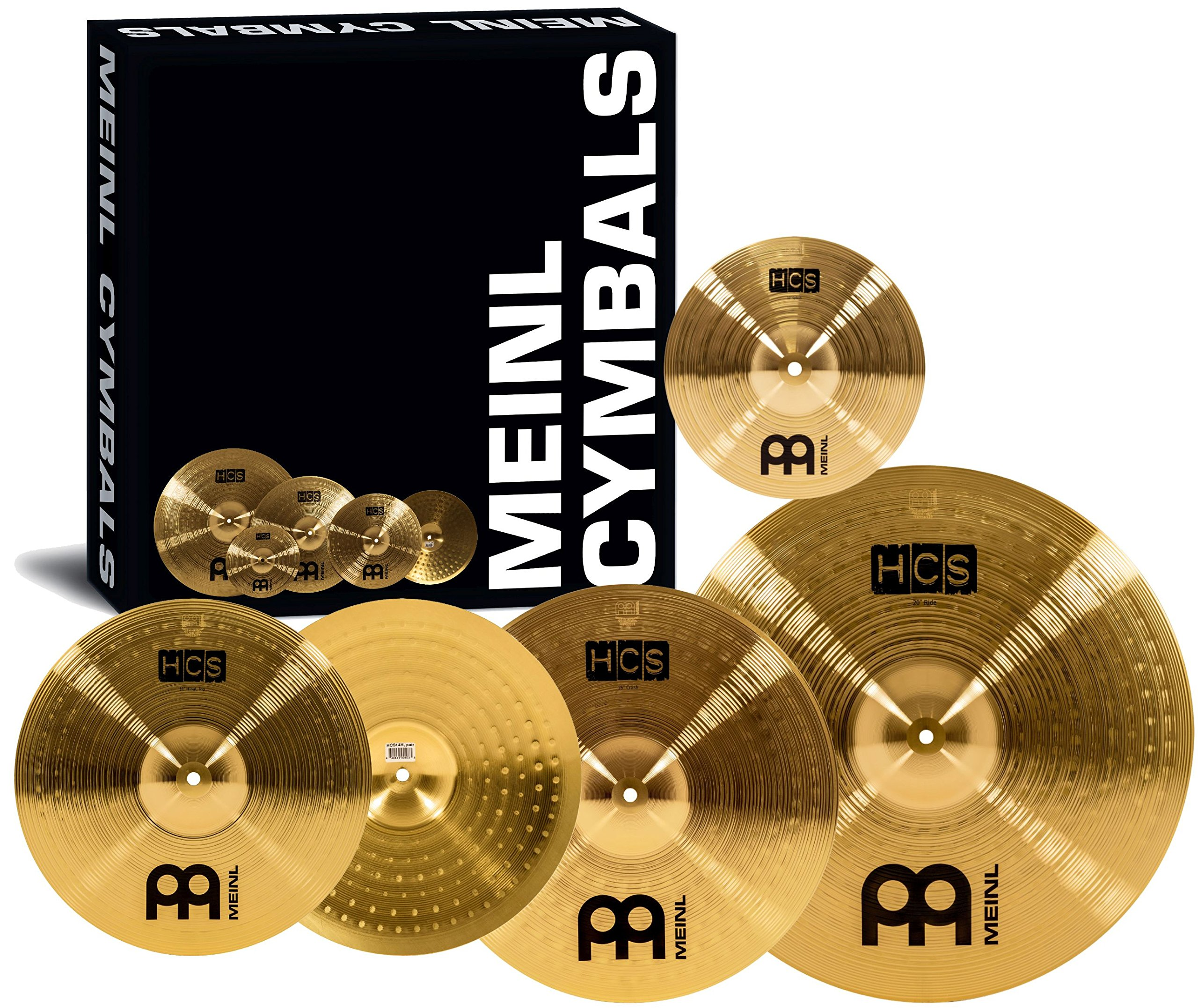 Meinl Cymbal Set Box Pack with 14'' Hihats, 20'' Ride, 16'' Crash, Plus a FREE 10'' Splash - HCS Traditional Finish Brass - Made In Germany, 2-YEAR WARRANTY (HCS141620+10) by Meinl Cymbals