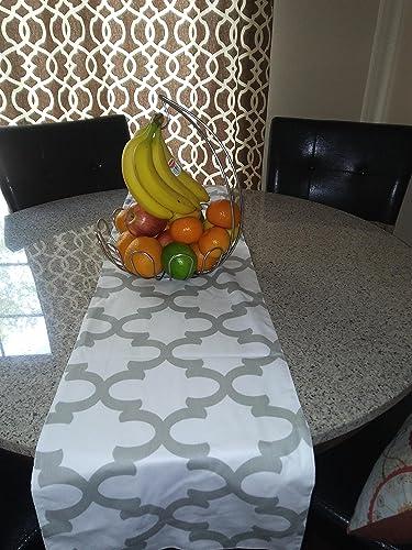 Amazon grey trellis fynn white moroccan pattern wedding table fynn white moroccan pattern wedding table runner table runner home decor workwithnaturefo