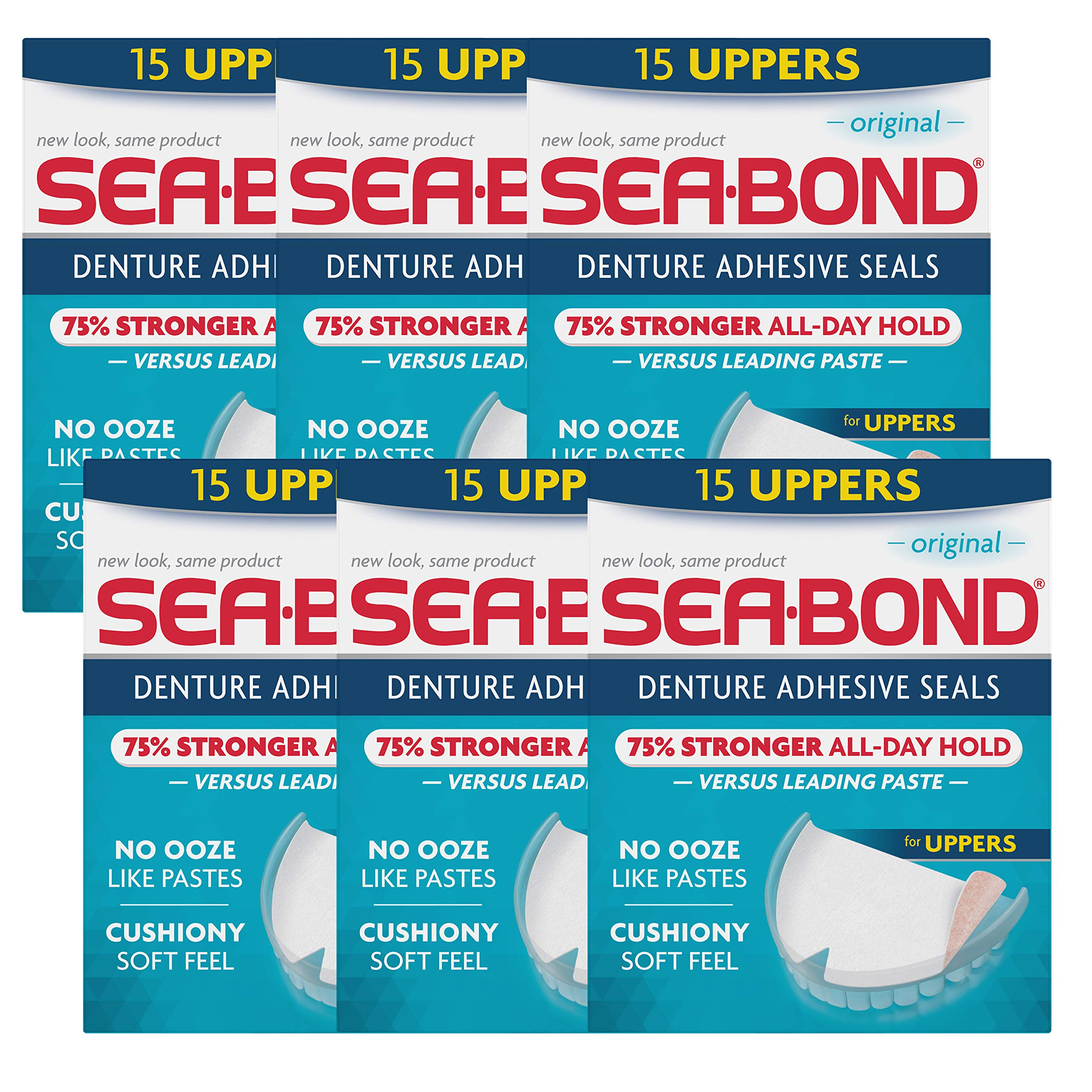 SEA-BOND Denture Adhesive Seals Uppers Original 15 ea (Pack of 6)