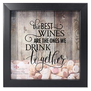 Lawrence Frames 10x10 Black Shadow Box Wine Cork Holder,